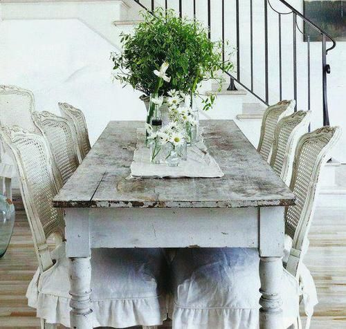 Shabby Dining - like the finish on the French cane back chairs & the skirted seat covers