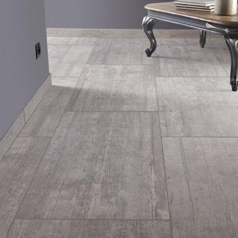 Carrelage sol et mur gris clair effet béton Industry l.45 x L.90 cm