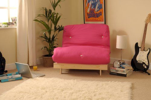 3ft (90cm) Single Wooden Futon with PINK Mattress