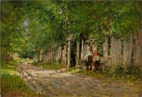 Nicolae Grigorescu (1838 - 1904) | Impressionism | Girls Working by the Gate…