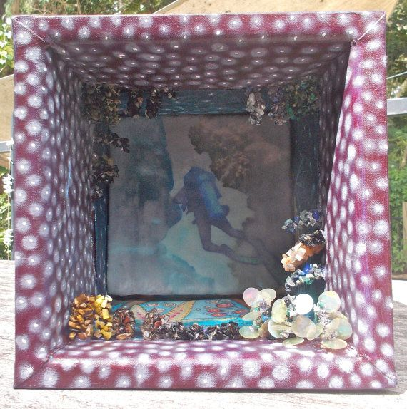 Who's in There Mixed Media 3D Wall Art with jewelled coral and encaustic image. http://www.stephaniejmilne.com