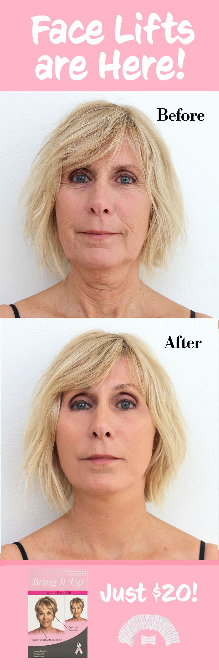 Face Lifts are here! Look younger instantly! Just peel, stick, and you're ready for the day. Love yourself and feel confident. Plus, they're just $20 for 8 sets of neck and brow lifts!  Face Lifts | Non surgical face lift | before and after face lift | Anti wrinkle remedy | anti aging remedy