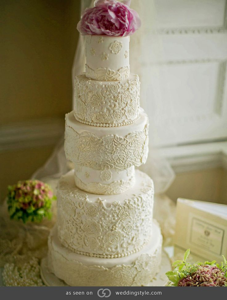 6 Tier Lace Wedding Cake The Pink Peony Topper Gives A Nice Pop Of Colour By Elizabeths Emporium B