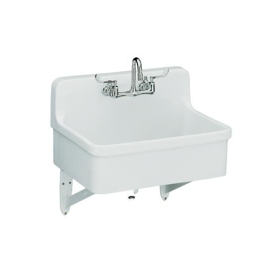 """Kohler K-12787 Gilford scrub-up/plaster sink with two-hole faucet drilling 30"""" White Fixture Utility Sink Vitreous China"""