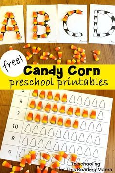 Fun fall ABC game for kids!! FREE Candy Corn Preschool Activities and Printables. Using candy corn as a manipulative is great for a preschooler's fine motor skills and provides a colorful and fun way to learn many different concepts. This set of free candy corn activities and printables includes the following activities: alphabet tracing, counting 1-6, counting 6-10, fall tree jack o' Lantern. Get these FREE downloads at: thisreadingmama.c......