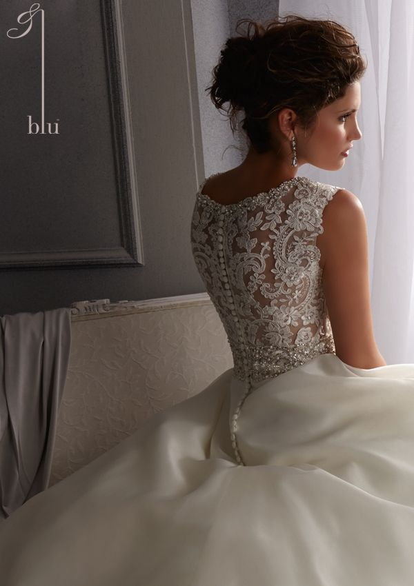 Bridal Dress From Blu By Mori Lee Dress Style 5261 Crystal Organza Wedding Gown with Embroidered Lace and Diamante Beading
