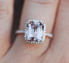 »Peach Sapphire Ring Rose Gold Engagement Ring by EidelPrecious«