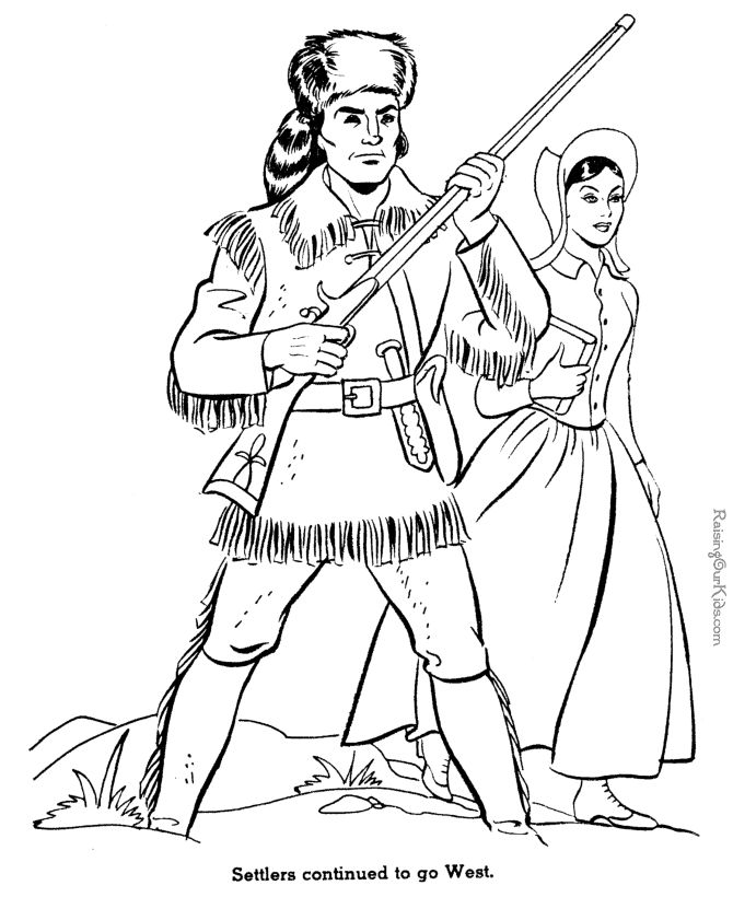 Settlers Go West history coloring page for kids 030