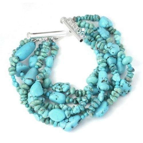 Bling Jewelry Sterling Silver Turquoise Gemstone Five Strand Nugget Bracelet 8in