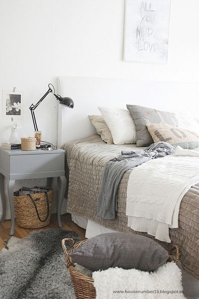 neutral colors for bedding in this bedroom.