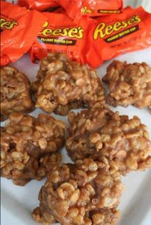 REESE'S KRISPIE NO-BAKE COOKIES     1 cup sugar   1 cup corn syrup   1 1/2 cup creamy peanut butter   4 1/3 cup Rice Krispies   1...