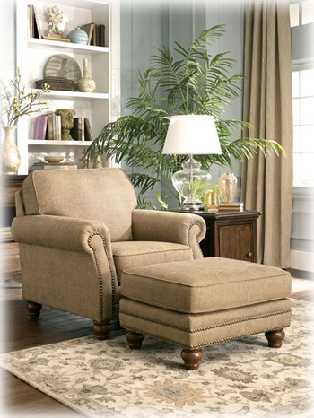 "The ""Prelude-Champagne"" upholstery collection from Ashley Furniture. Chair Model #:  5580020, Ottoman Model #: 5580014"