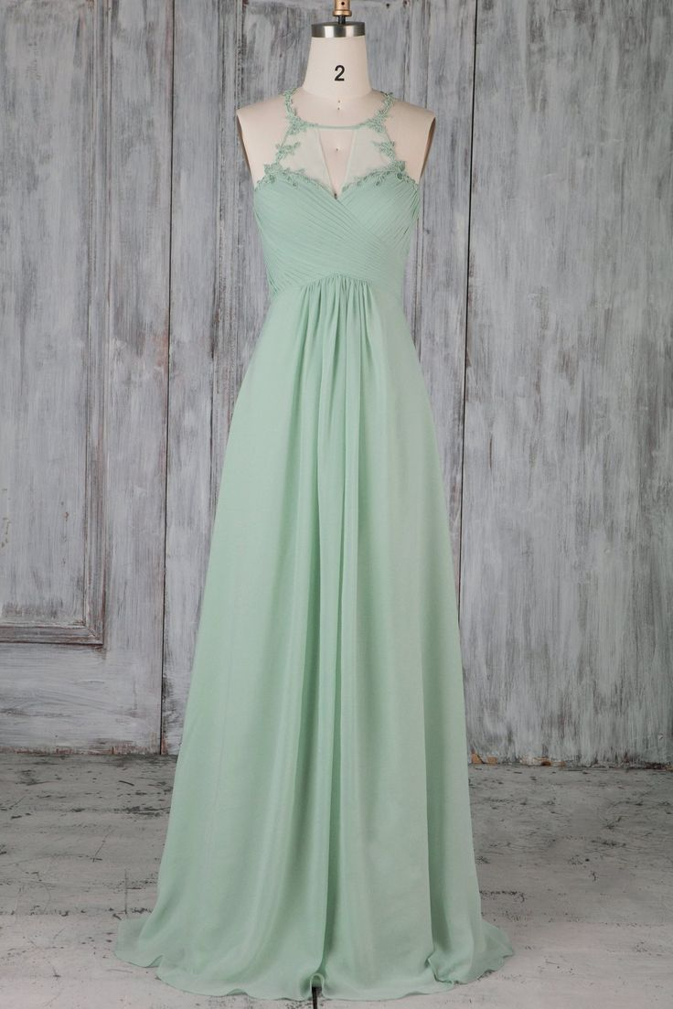 Applique Key-Hole Illusion Jewel Neck ärmelloses langes Brautjungfernkleid - JoJoBride #Brautjungfer #Hochzeit #Brautjungfernkleid #Homedecor