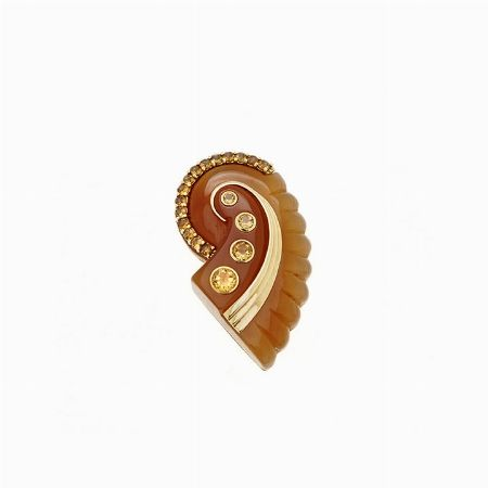 BROOCH, SEAMAN SCHEPPS, USA - yellow gold, cornelian and quartz #2 ASTA ONLINE - Gioielli del Novecento - Lotto n. 37 #seamanschepps #usa #america #gold #diamonds #shell #cornelian #quartz #florence #jewels #jewellery