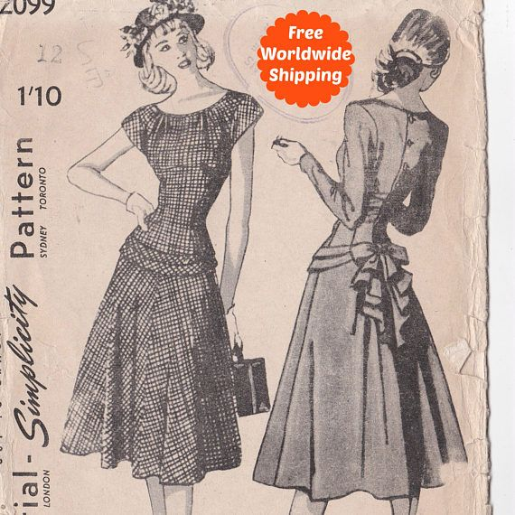 Sewing Patterns for Women Vintage 1940s Sewing Pattern Long