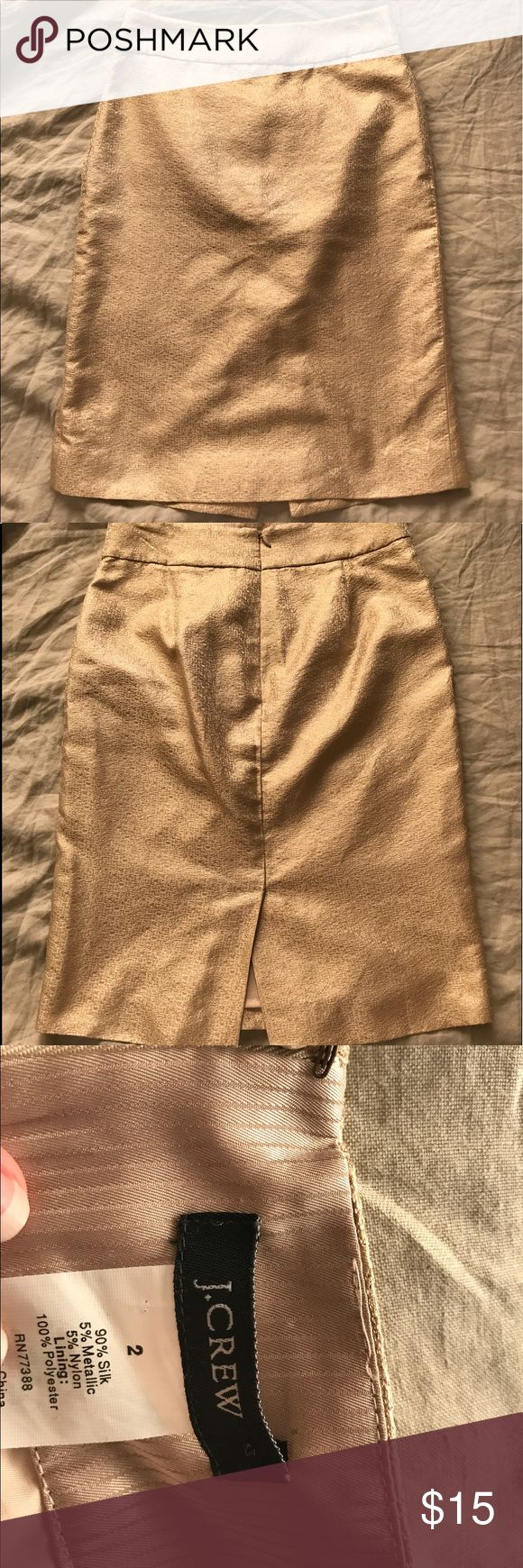 J Crew gold pencil skirt Silk blend gold textured pencil skirt 🌞 excellent condition, so sad that I can't make it work for my hips J. Crew Skirts Pencil