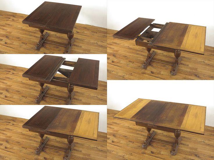 個性的な拡張方法が魅力のベイキングテーブルです。 天板を左右に引き出し、二つ折りとなった天板を広げるといった拡張方法です。 通常のドローリーフテーブルよりも少しスリムと言える横幅もポイントですね。 もちろん拡張時には充分な横幅があるので作業台としても大活躍のお品です。 ベイキングテーブルは基本的に拡張時に現れる天板部分にニスの仕上げはされておりません。ID53154 品名ベイキングテーブル 原産国イギリス 材質オーク材 年代1930年頃 サイズW 815(拡張時1475) x D 920 x H 745  #アンティーク #テーブル #ダイニングテーブル #アンティークテーブル #ベイキングテーブル