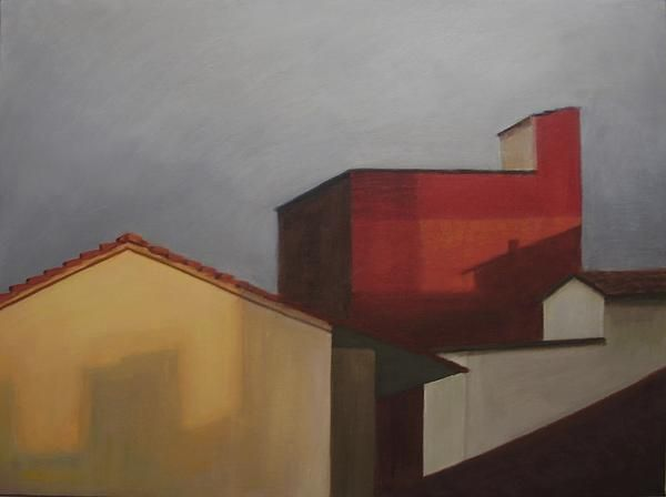 Rooftops Original oil painting by Laura Thompson, SOLD. Now available as fine art prints.