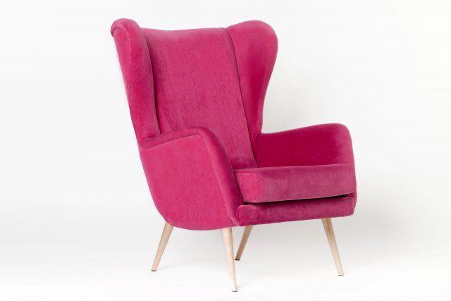 Fotel PinkMeUp fuksja vintage róż różowy design lata 50
