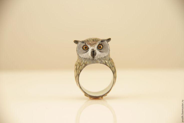 Купить Кольцо Сова, Филин, кольца с животными - кольцо сова, кольцо в виде совы