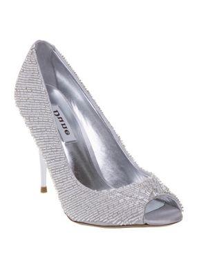 Dune Vivian peep toe beaded court shoes Silver - House of Fraser