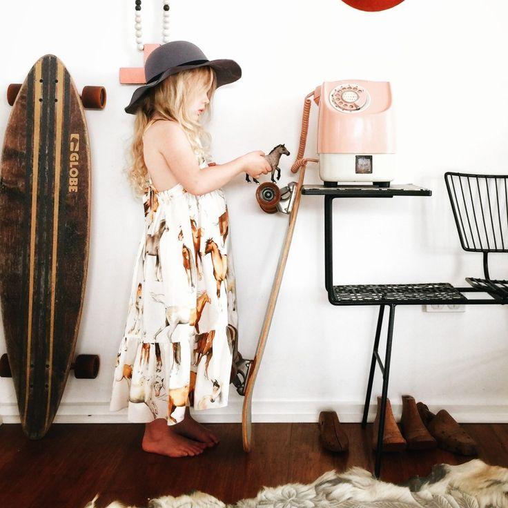 Girls Kids Toddler horse print maxi dress in size 2-6. Available from www.desertislandbrand.com