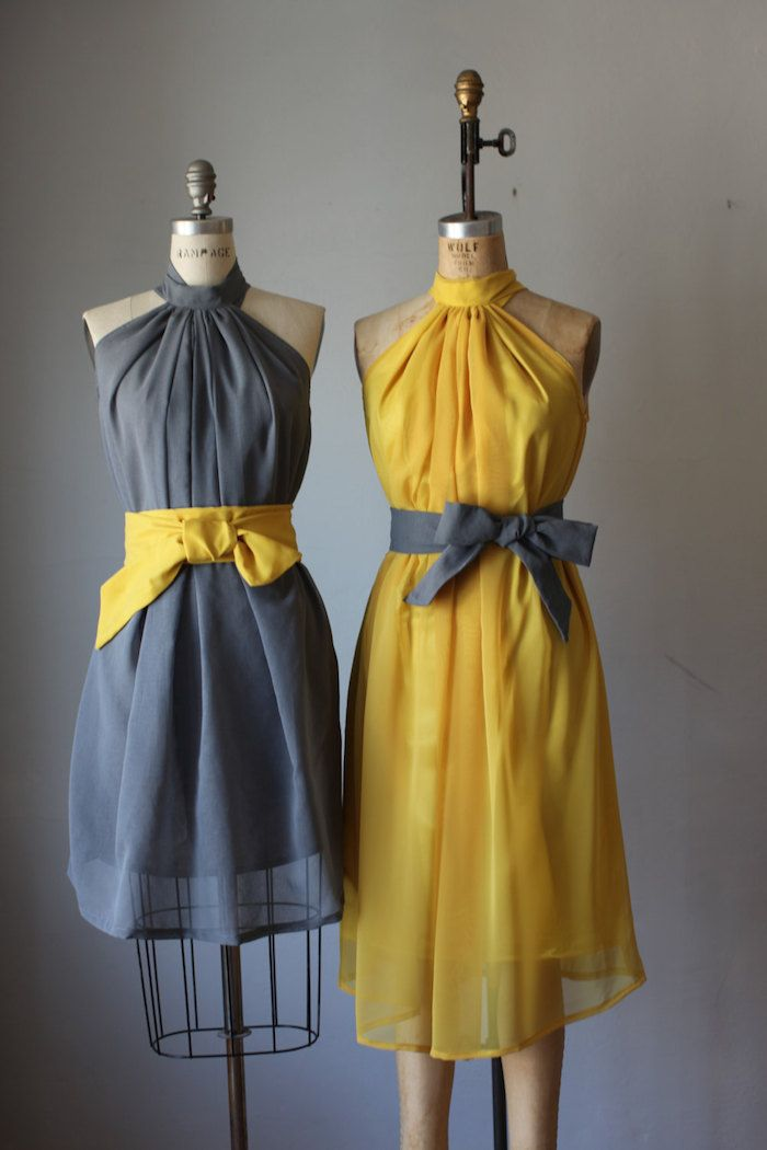 Grey and yellow bridesmaid dresses. 12 Awesome Etsy Bridesmaid Dresses on @intimatewedding #bridesmaiddress #bridesmaid #yellowdress