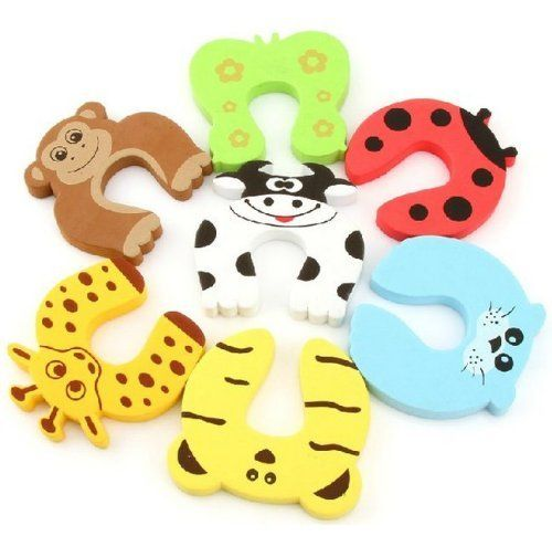 EasyLifeCare® 7 PCS Children Safety Finger Pinch Cartoon ... cute animals door-stoppers Prevent ouchies on children's fingers if the door shuts....NEED to think of idea for car doors for everyone!