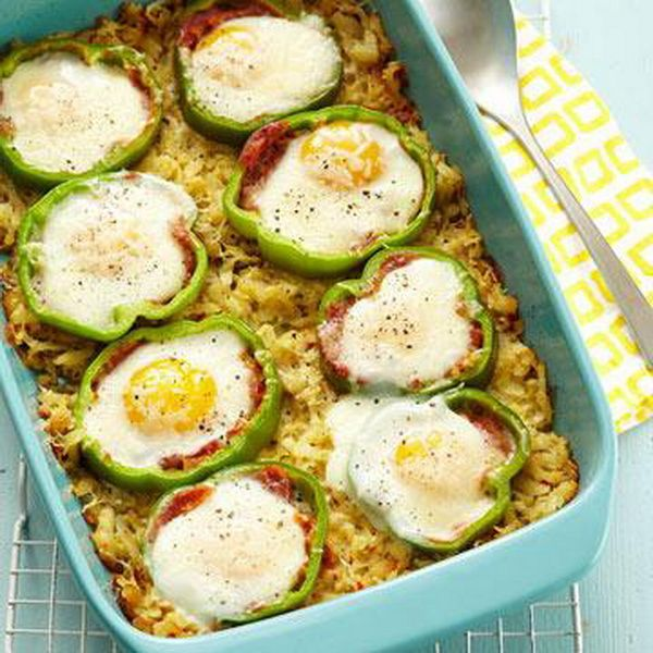 Sweet Pepper Hash Brown Baked Eggs Baked eggs in a mix like this one ...
