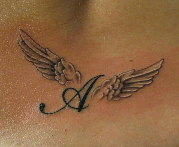 This at the top the words my angel's . Then one set of wings for each person s, n,e,c,h.