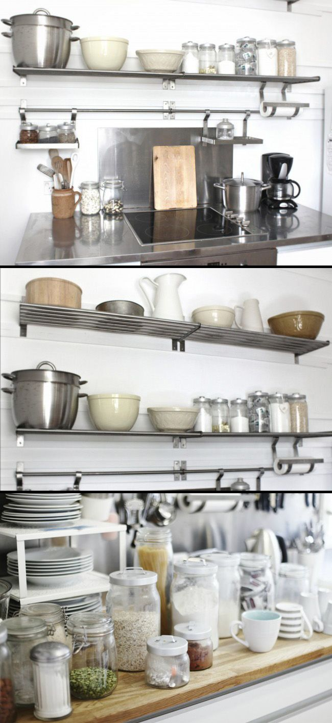 "KITCHEN :: Beach Cottage Shelves & Stovetop :: IKEA modular system...Grundtal stainless steel wall shelf ($14.99 ea., 31.5"") & Grundtal stainless steel rail ($9.99 ea., 31.5"") 
