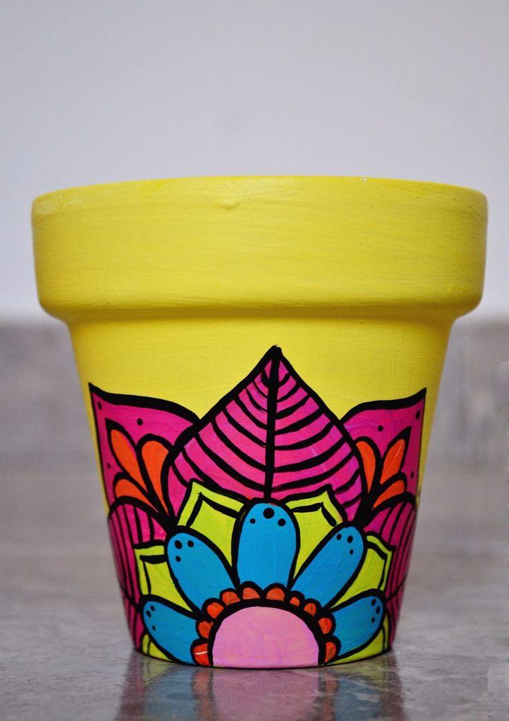 Macetas Para Cactus Pintadas A Mano - $ 80,00
