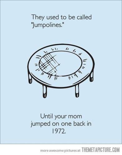 jumpolines vs. trampolines. LMBO, an unexpected yo mama joke