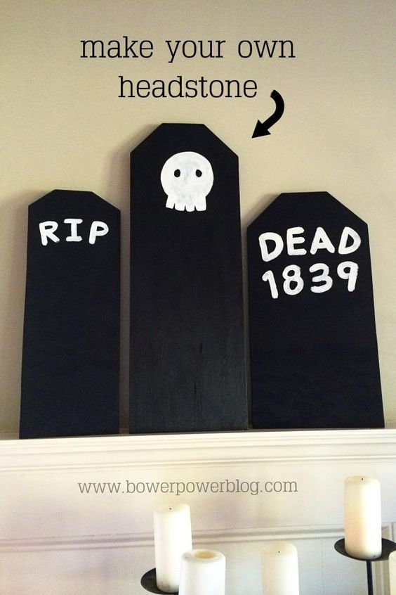 EASY Halloween headstone! Perfect for haunting yards and mantels :) death comes to us all