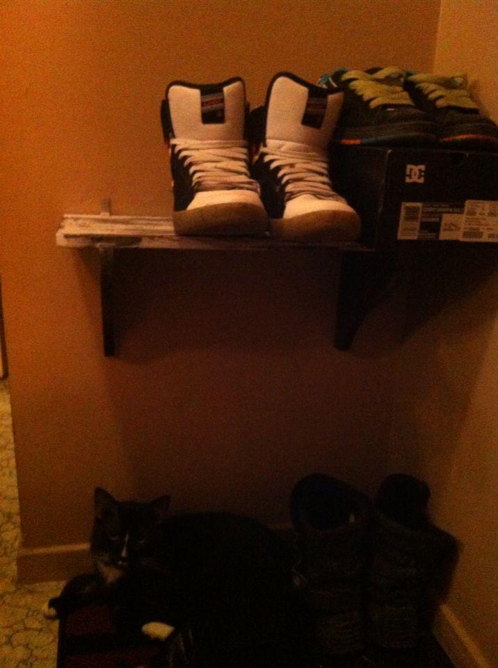 Distressed homemade shoe shelf