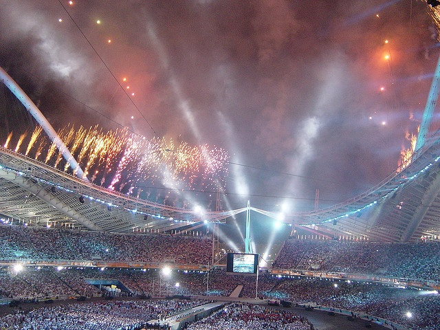 Closing Ceremony - Flame just been blown out - Fireworks, Athens 2004 by CaptSkyRocket, via Flickr