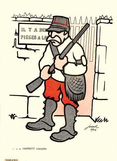 Un garde-chasse en képi , armée d'un fusil , monte la garde devant une porte fermée.