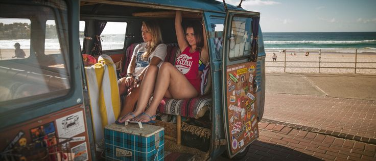Jess and Annette in the double door bus. Wearing original Fikthy white and red tees.