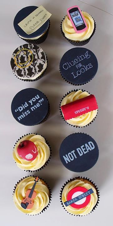 Sherlock cupcakes <---- these are freaking amazing, I want one!!!