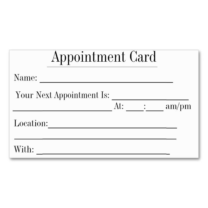 Best Appointment Reminder Cards Images On