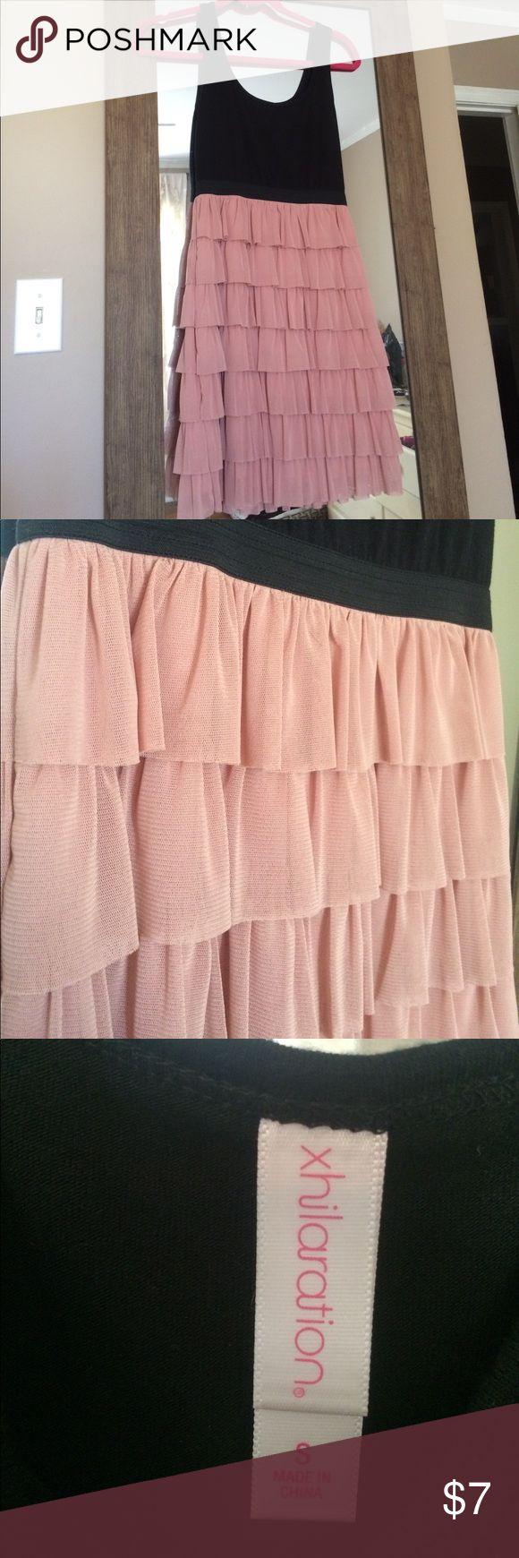 Black and pink ruffle dress Simple, flirty black and blush ruffle dress Xhilaration Dresses Mini