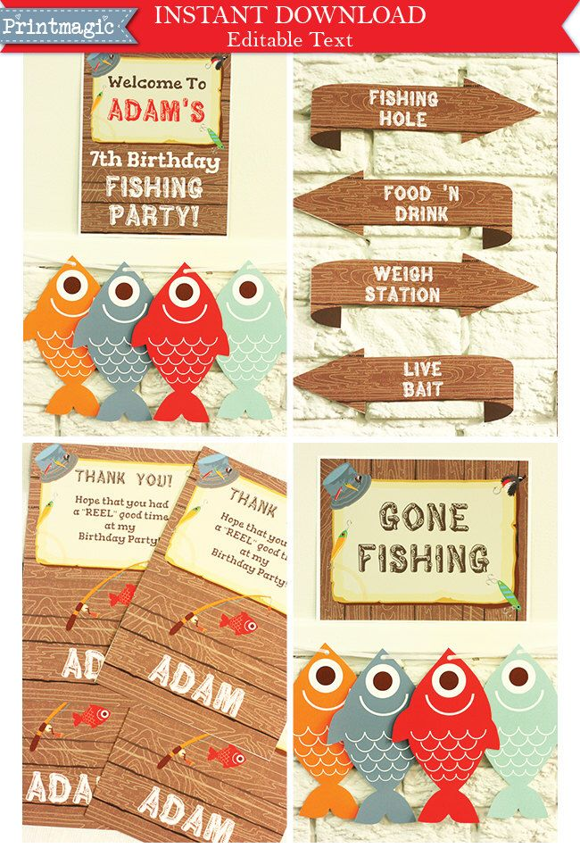 Gone Fishing Party Invitations & Decorations - Printable Party Kit - Editable Text you personalize at home - Instant Download by printmagic on Etsy https://www.etsy.com/listing/227663004/gone-fishing-party-invitations