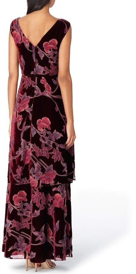 013a794256 Tahari ASL Velvet Burnout Floral Print Tiered Skirt Sleeveless A-Line Gown   Burnout Floral Velvet