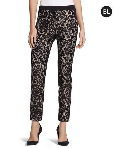 Chicos Womens Black Label Lace Panel Slim Ankle Pant from Chico's on Catalog Spree, my personal digital mall.