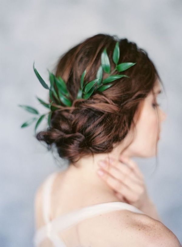 greenery bridal updo