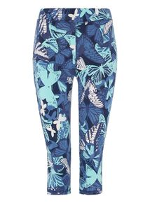 Blue Butterfly Print Cropped Leggings