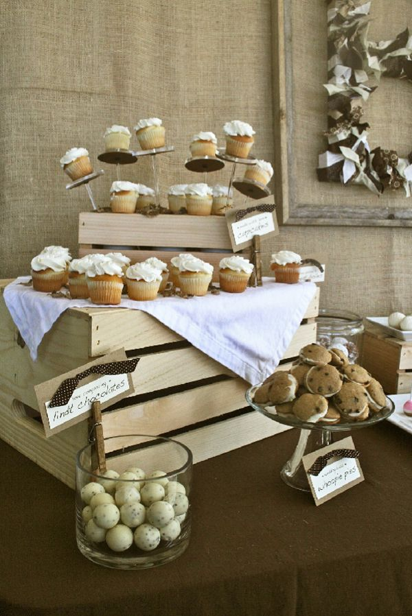 Charming Rustic Bridal Shower Dessert Table Incorporating