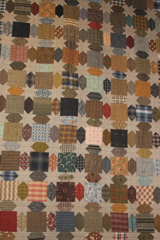 "One of my favorite patterns I have made from scrap stash using 5"" squares. Would look great in civil war fabrics and shirtings:"