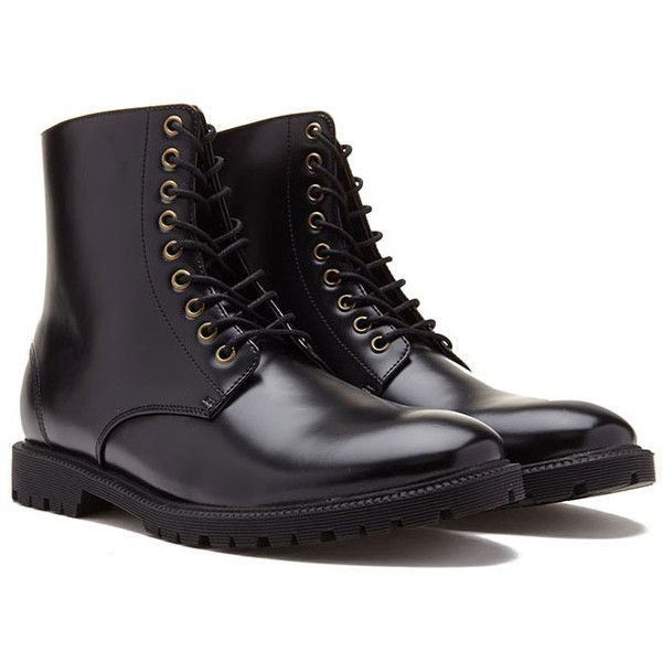 Forever 21 Men's  Faux Leather Lug-Sole Boots ($43) ❤ liked on Polyvore featuring men's fashion, men's shoes, men's boots, shoes, boots, mens lug sole boots, mens lace up shoes, mens fur lined boots, mens fur lined shoes and mens vegan boots