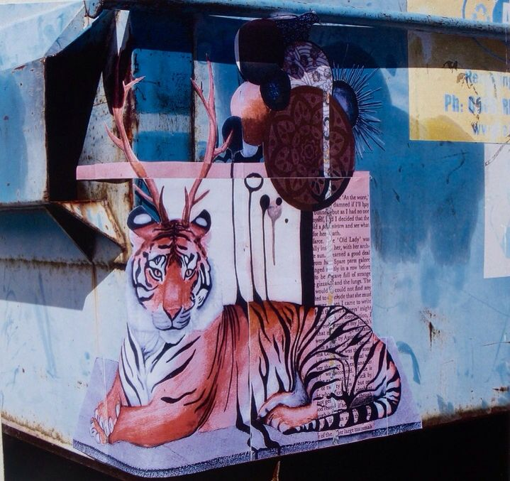 Tiger Painting installed on Rubbish bin.